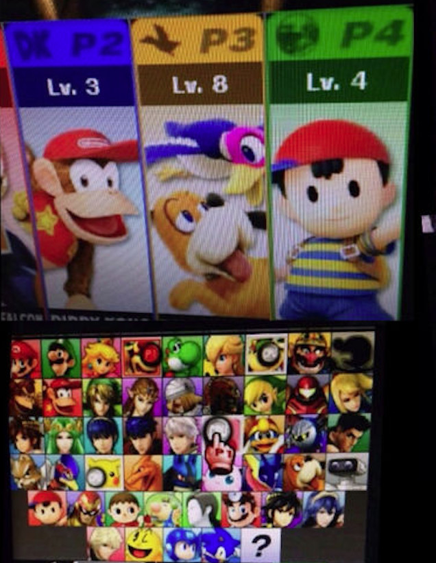 Someone With Access To The Super Smash Bros For Nintendo 3DS Rom Has Apparently Leaked A Photo Of Hardware Showing Full Character Roster Available