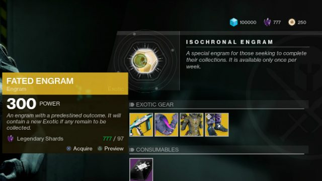 Destiny 2 Fated Engram Xur Inventory