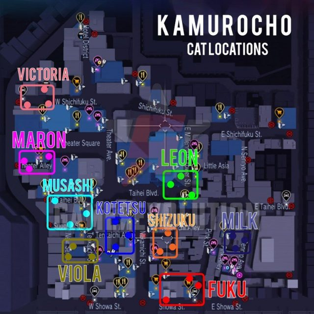 Kamurocho-Cat-Locations-Map