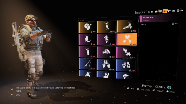 The Division 2 Emotes Apperal Store