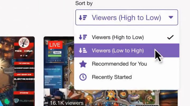 Twitch Viewers Low to High filter