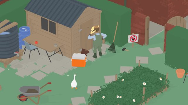 untitled goose game make the groundskeeper wear his sun hat 2