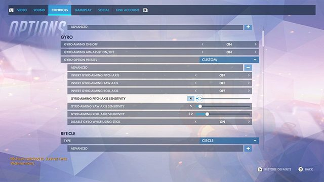 Overwatch Switch Gyro Controls | How to disable them or turn them down