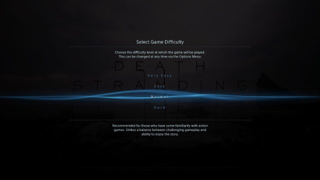 Death Stranding Difficulty selection screen