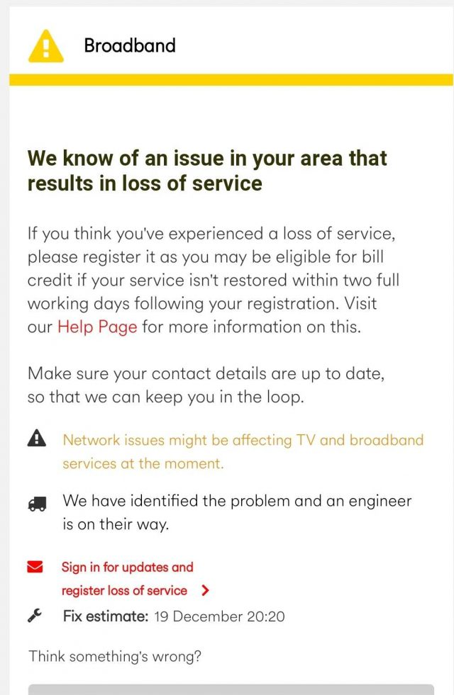 Virgin Internet down outage