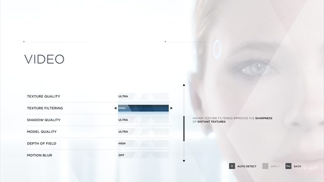 Detroit: Become Human PC Review graphics settings customization