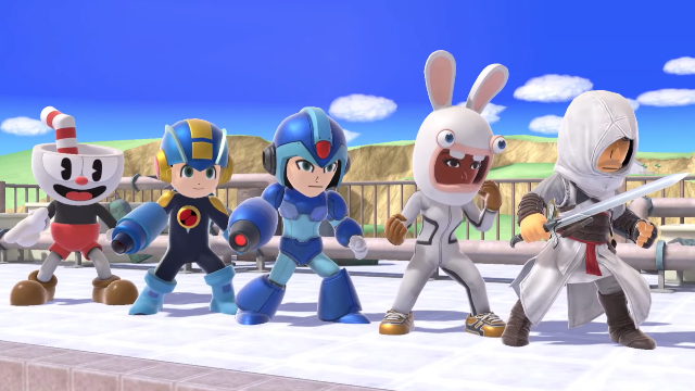 Super Smash Bros. Ultimate Cuphead Mii Fighter _ Assassin's Creed, Rabbids, & Mega Man X costumes release date