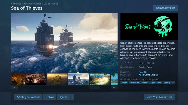 Sea of Thieves Steam release date page