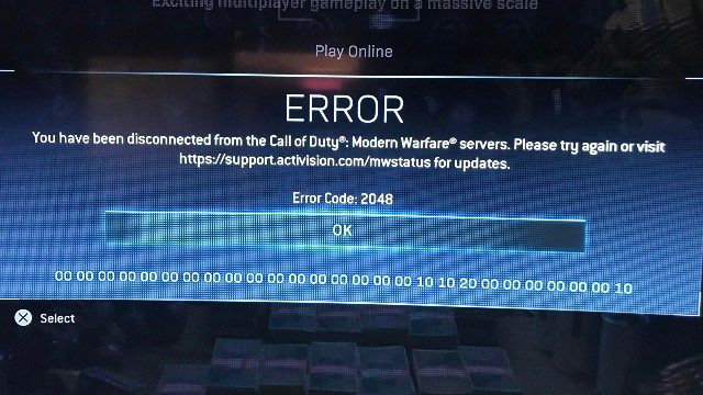 Modern Warfare Error Code 2048 Message